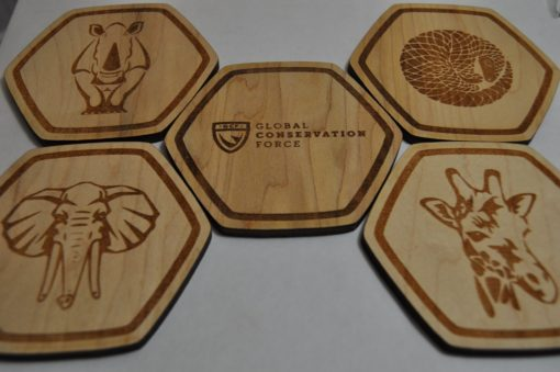 global conservation force wood coaster set