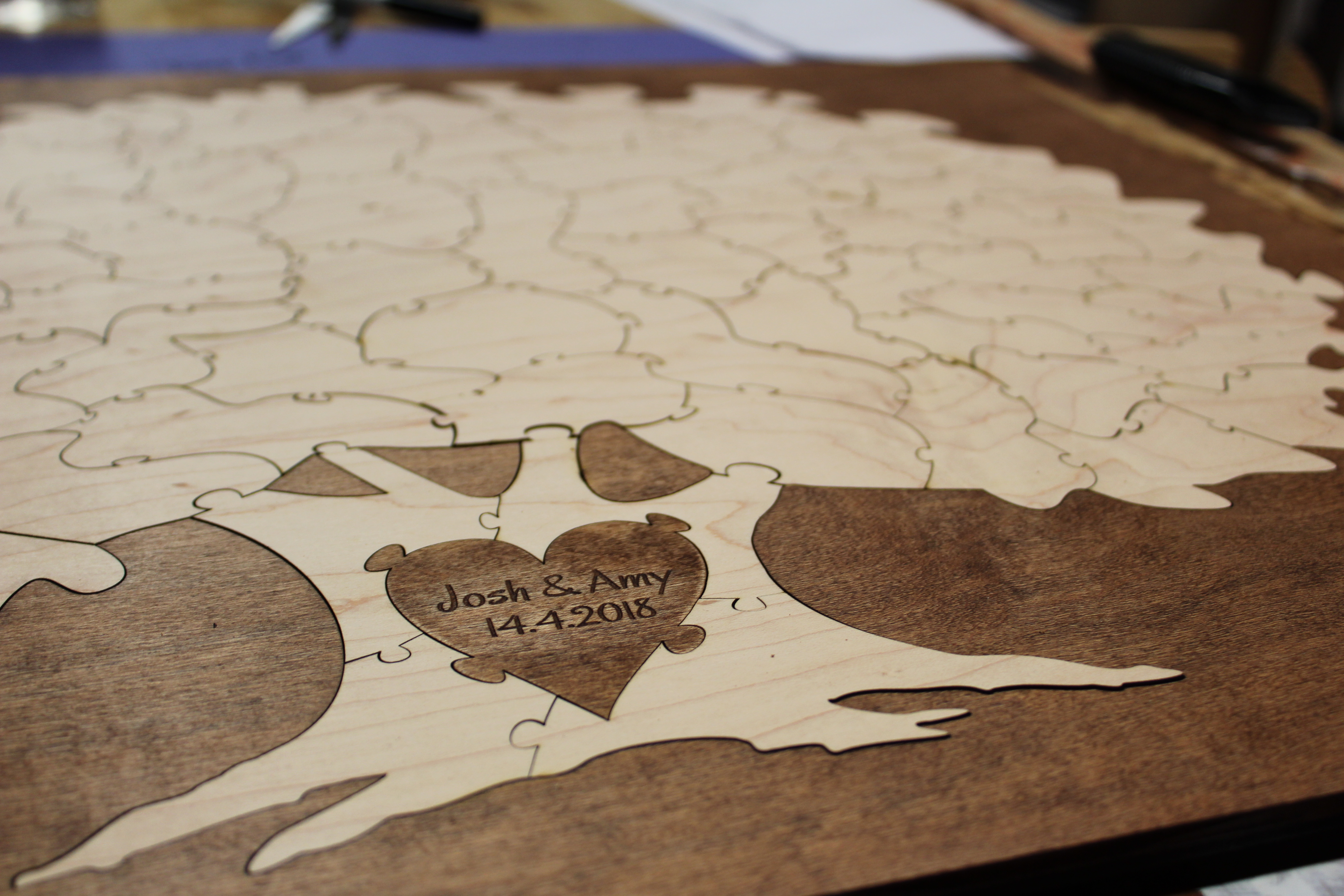 Personalized Bordered Wedding Tree Guest Book Puzzle   Havoly