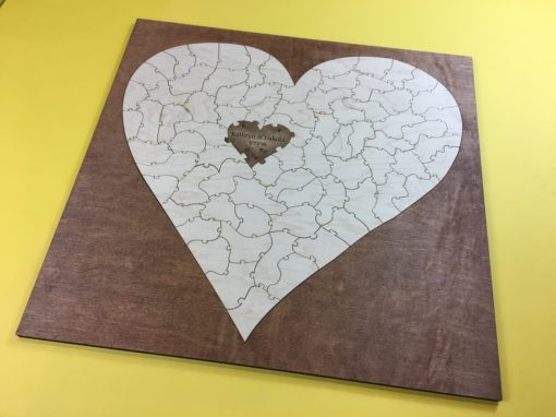 Bordered Heart Puzzle Wedding Guest Book