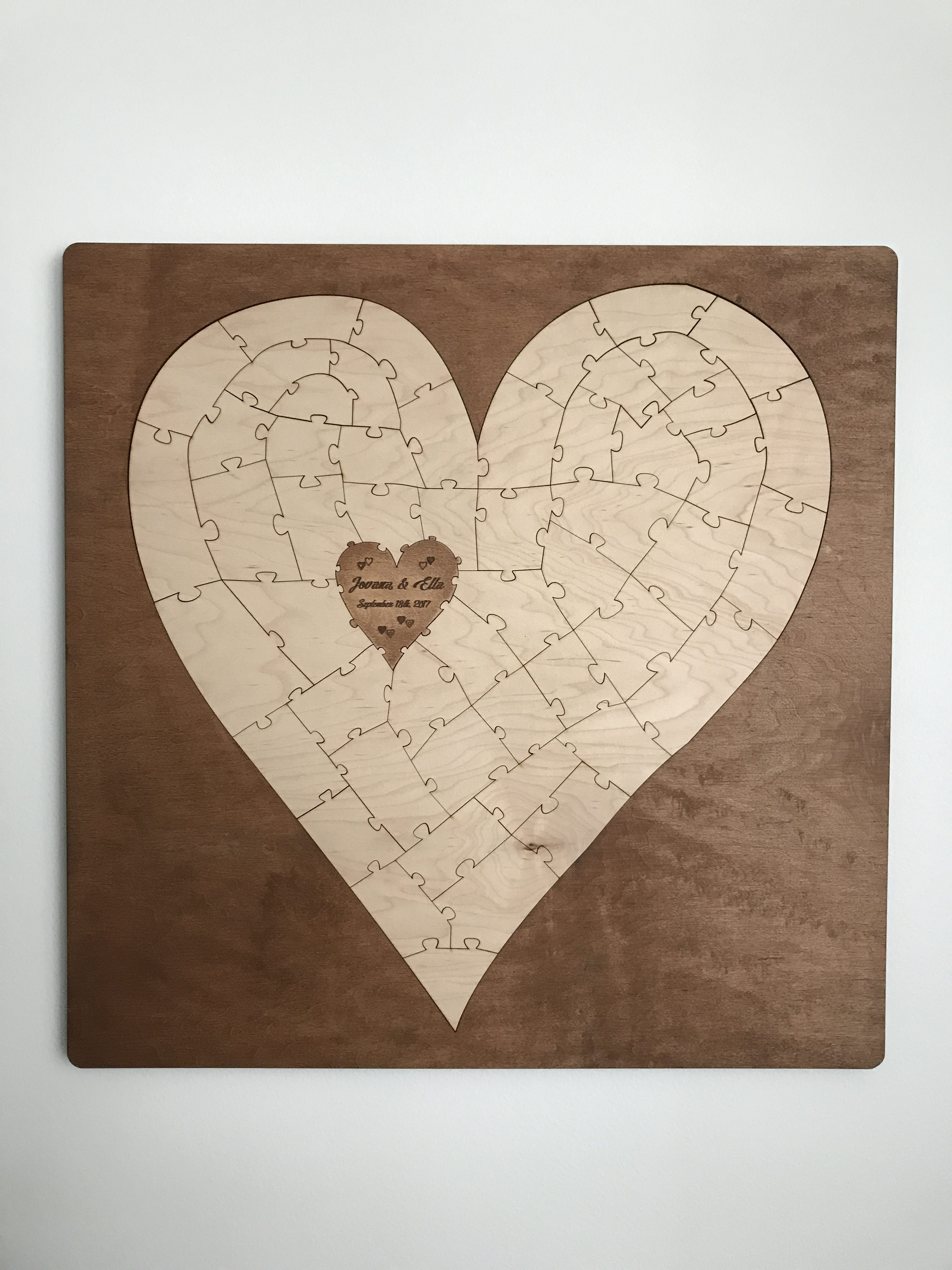Bordered Heart Shaped Wooden Puzzle Guest Book Alternative   Havoly