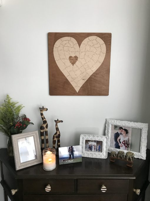 bordered heart puzzle guest book