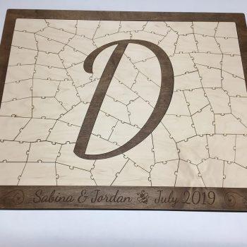 Letter D Wooden Puzzle Guest Book
