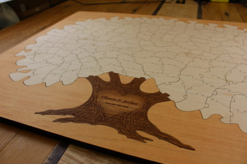 Textured Trunk Bordered Puzzle Tree
