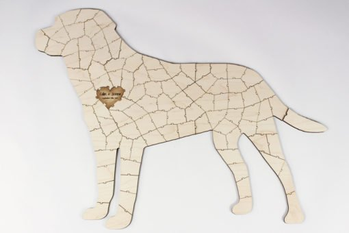 wooden dog shaped puzzle
