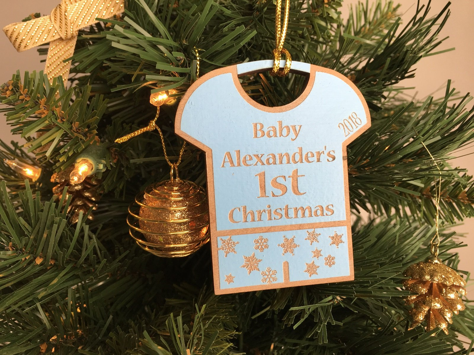 Personalized Baby's First Christmas Engraved Wood Ornament ...