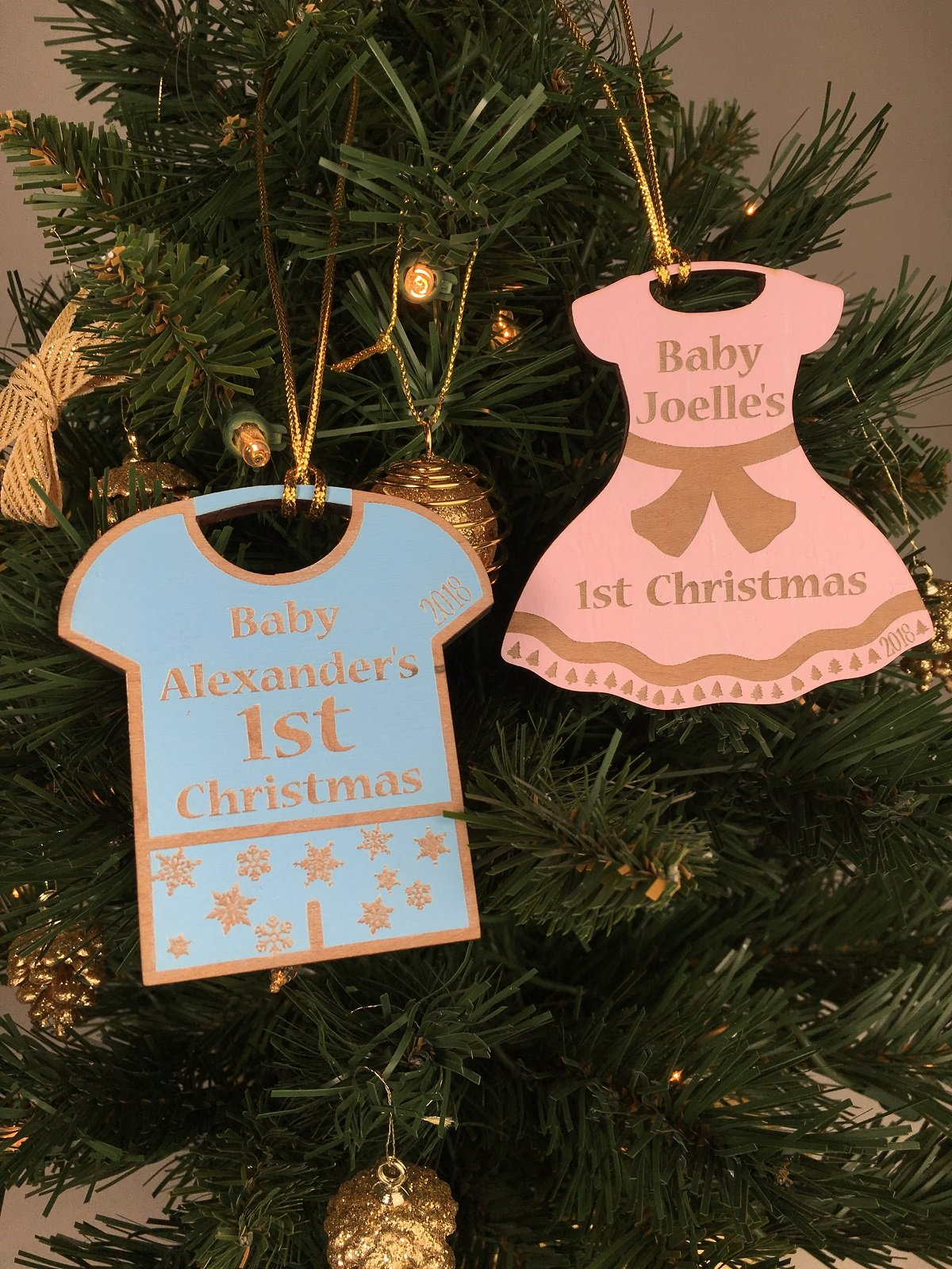 Personalized Baby's First Christmas Engraved Wood Ornament