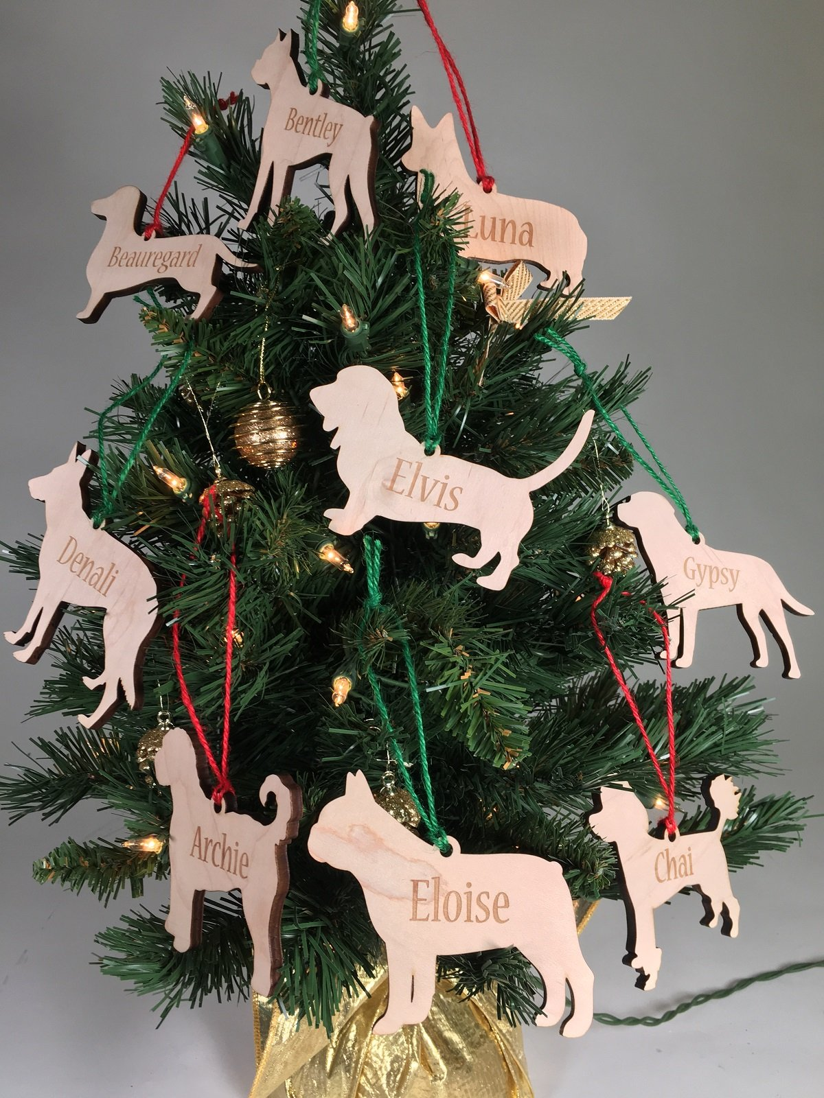 Christmas Ornaments With Names On Them.Personalized Wooden Dog Ornament