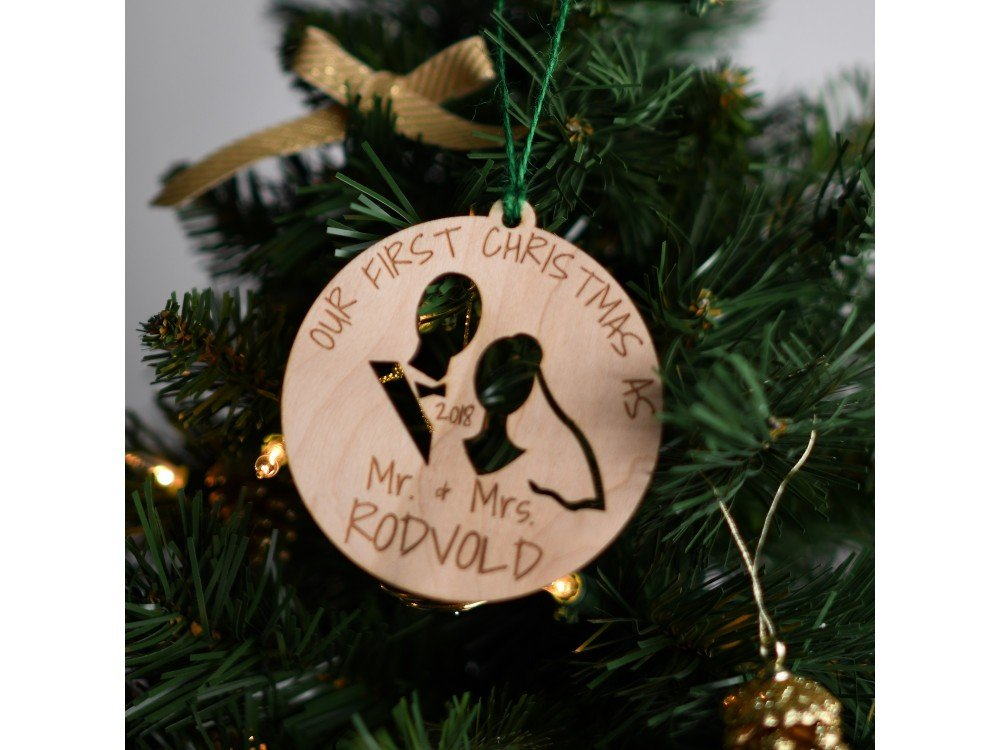 Christmas Ornaments Personalized.Personalized Our First Christmas As Mr Mrs 2018 Engraved Wood Ornament