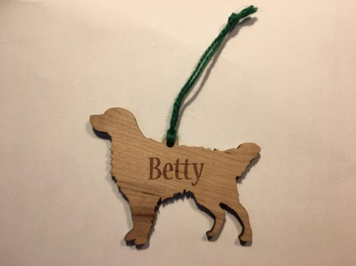 Personalized Golden Retreiver Wood Christmas Ornament