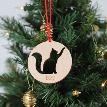 Personalized Wooden Cat Ornament