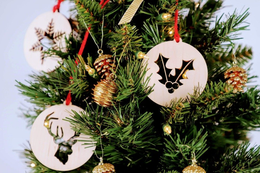 Set Of Five Wood Cutout Christmas Ornaments
