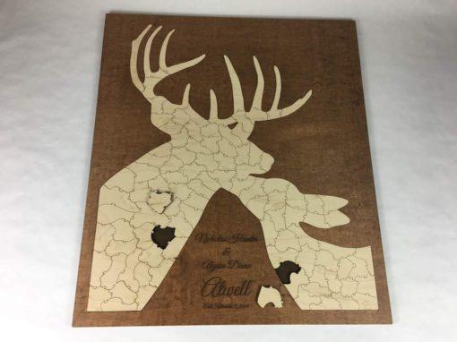 deer puzzle wooden alternative guest book