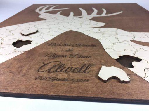 deer puzzle wedding guest book