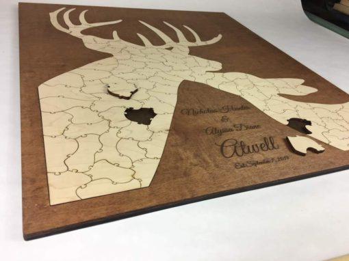 deer puzzle custom guest book