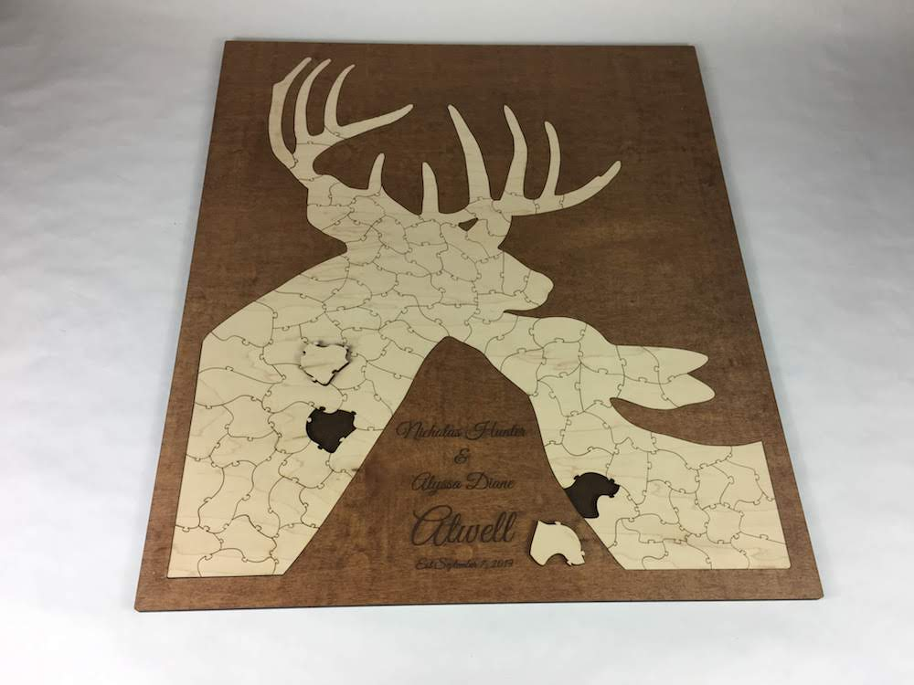 wooden deer puzzle wedding