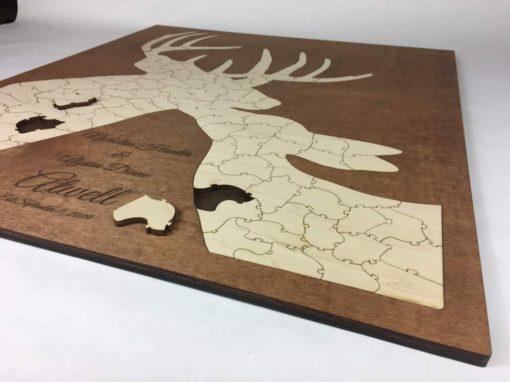laser cut deer puzzle wedding