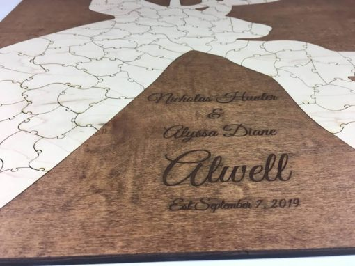 engraved wooden alternative guest book deer