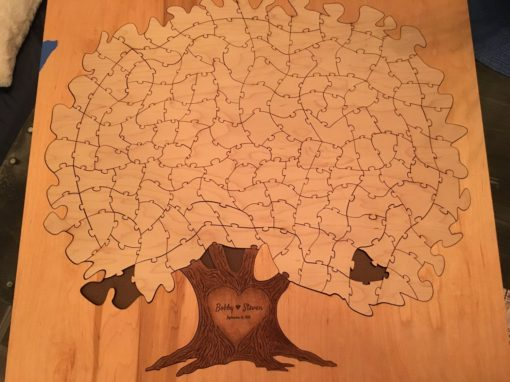 Bordered Wooden Tree Puzzle Guest BookMissing Pieces